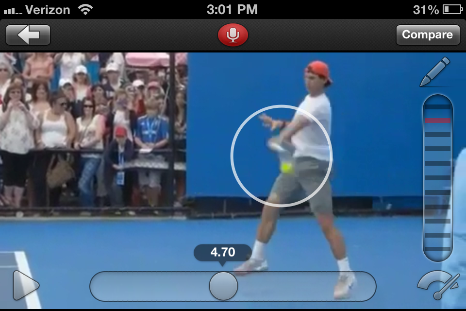 Tennis Forehand Analysis Video Analysis And Sports Coaching Mobile App For Iphone And Ipad With Slow Motion And Side By Side Comparison Ubersense And Ubersense Golf